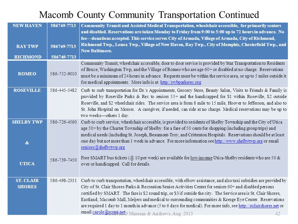 Macomb County Community Transportation Continued