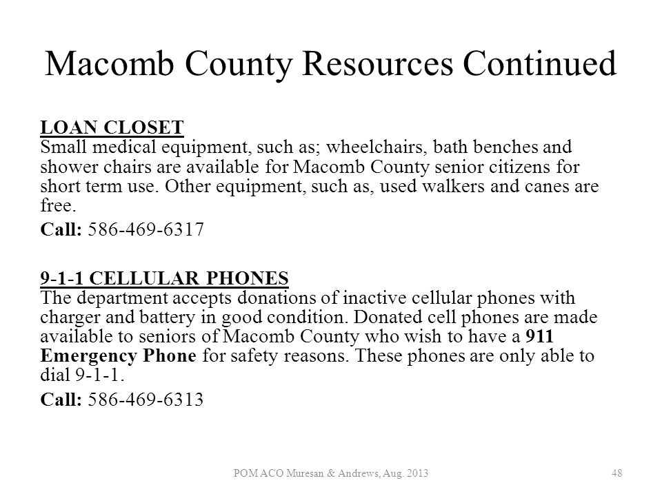 Macomb County Resources Continued