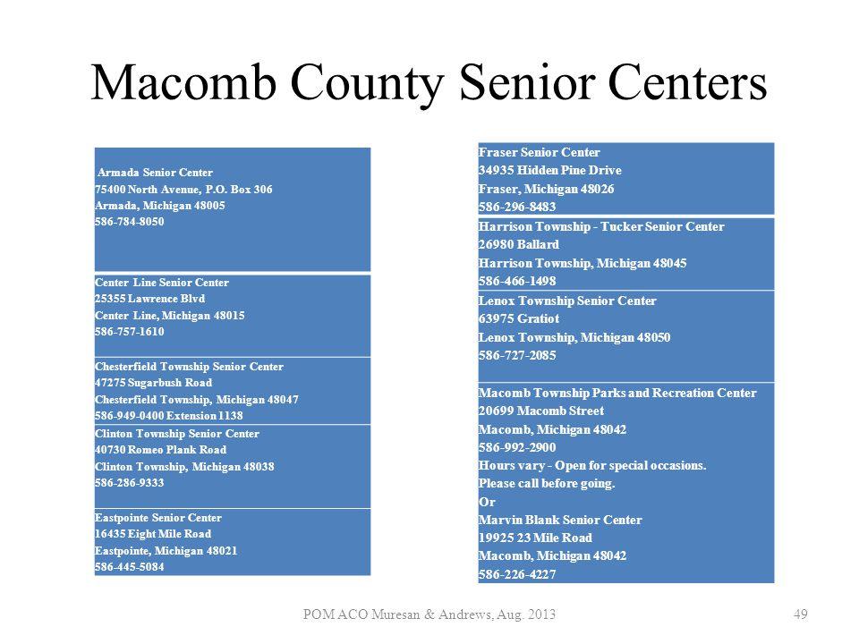 Macomb County Senior Centers