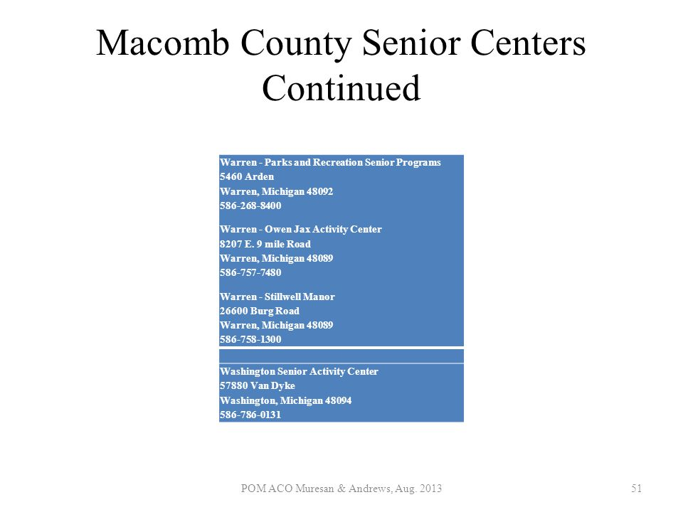 Macomb County Senior Centers Continued