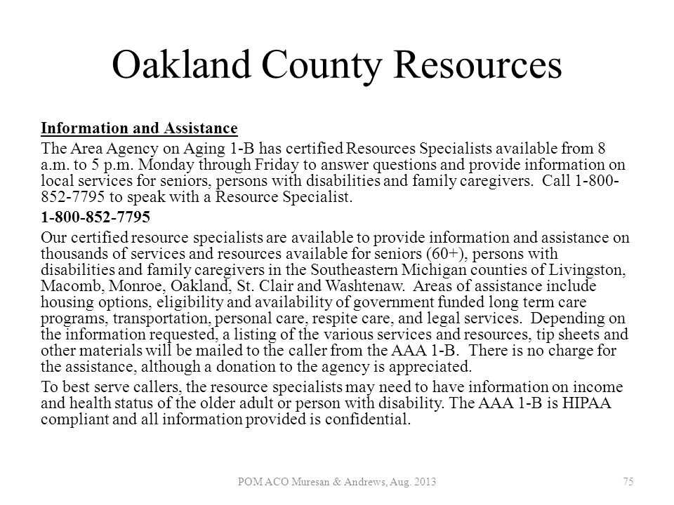 Oakland County Resources