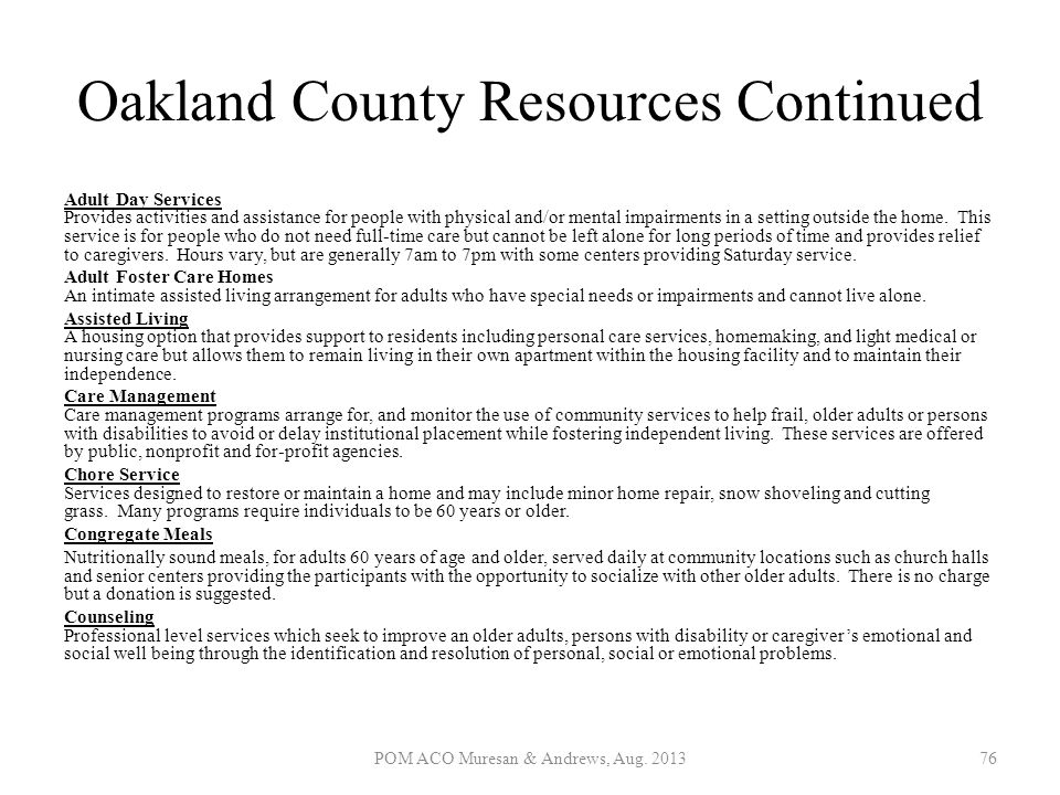 Oakland County Resources Continued
