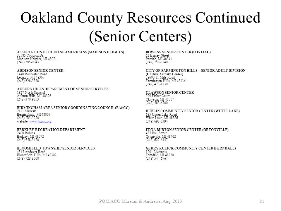 Oakland County Resources Continued (Senior Centers)