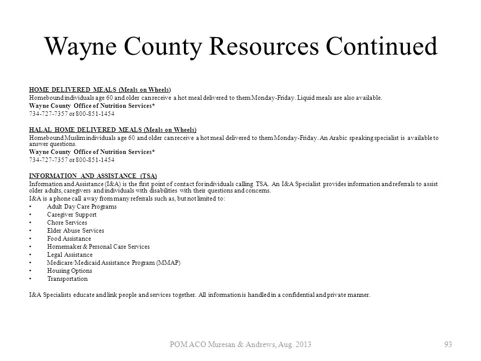 Wayne County Resources Continued