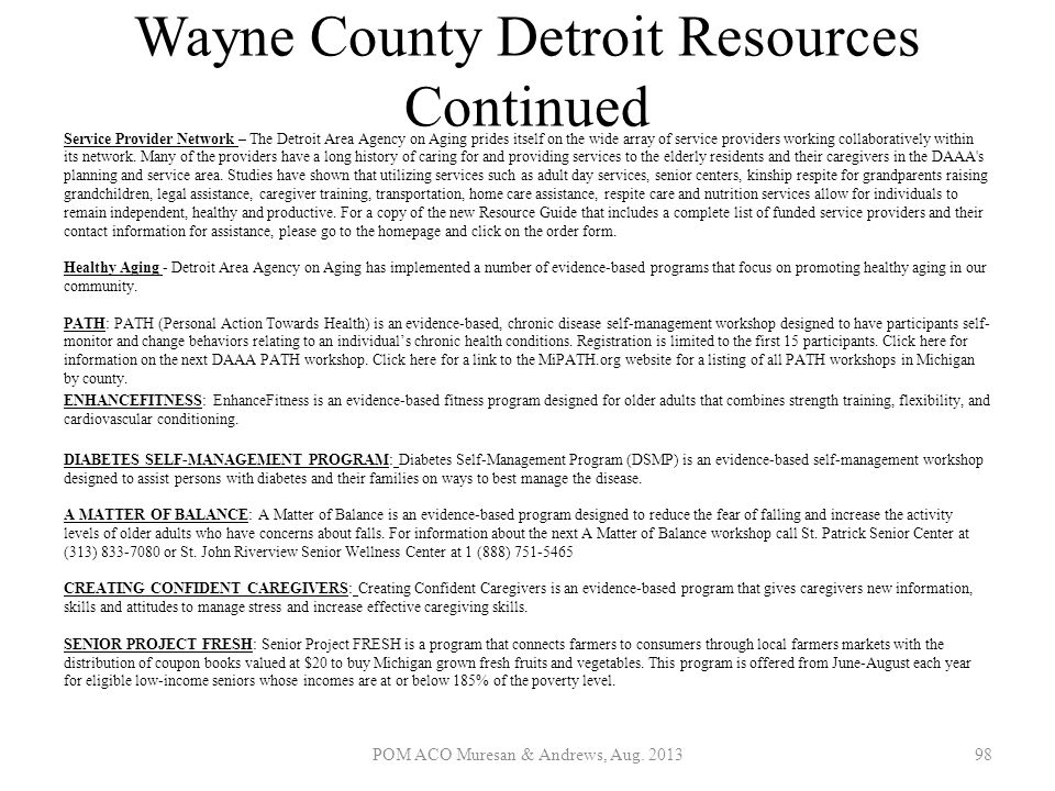 Wayne County Detroit Resources Continued