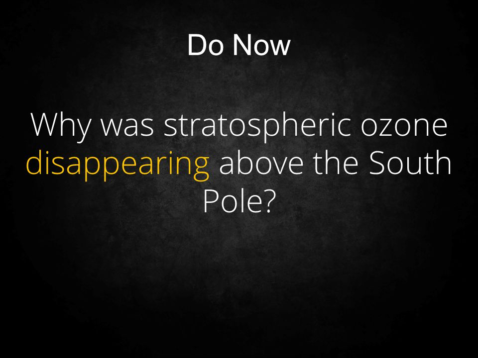 Why was stratospheric ozone disappearing above the South Pole