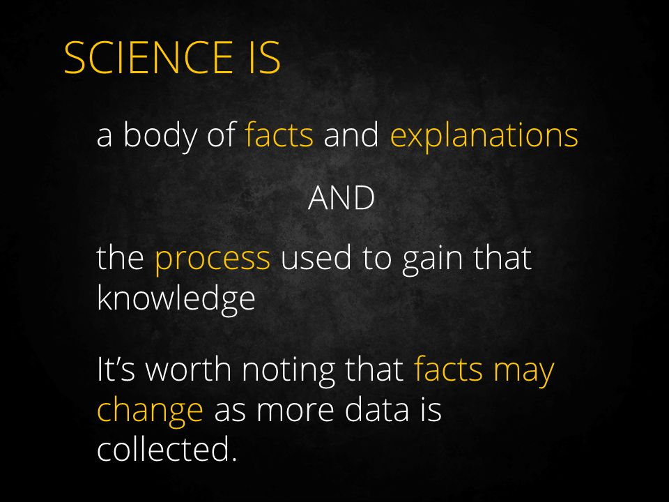 SCIENCE IS a body of facts and explanations AND