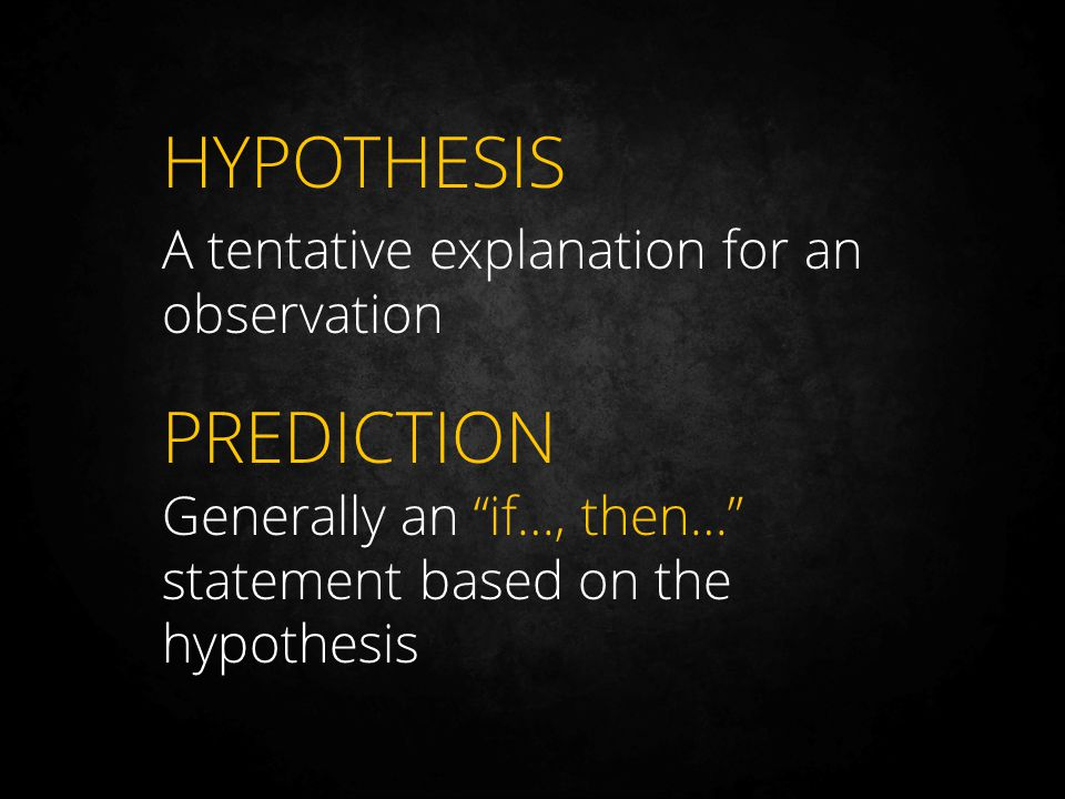 HYPOTHESIS PREDICTION A tentative explanation for an observation