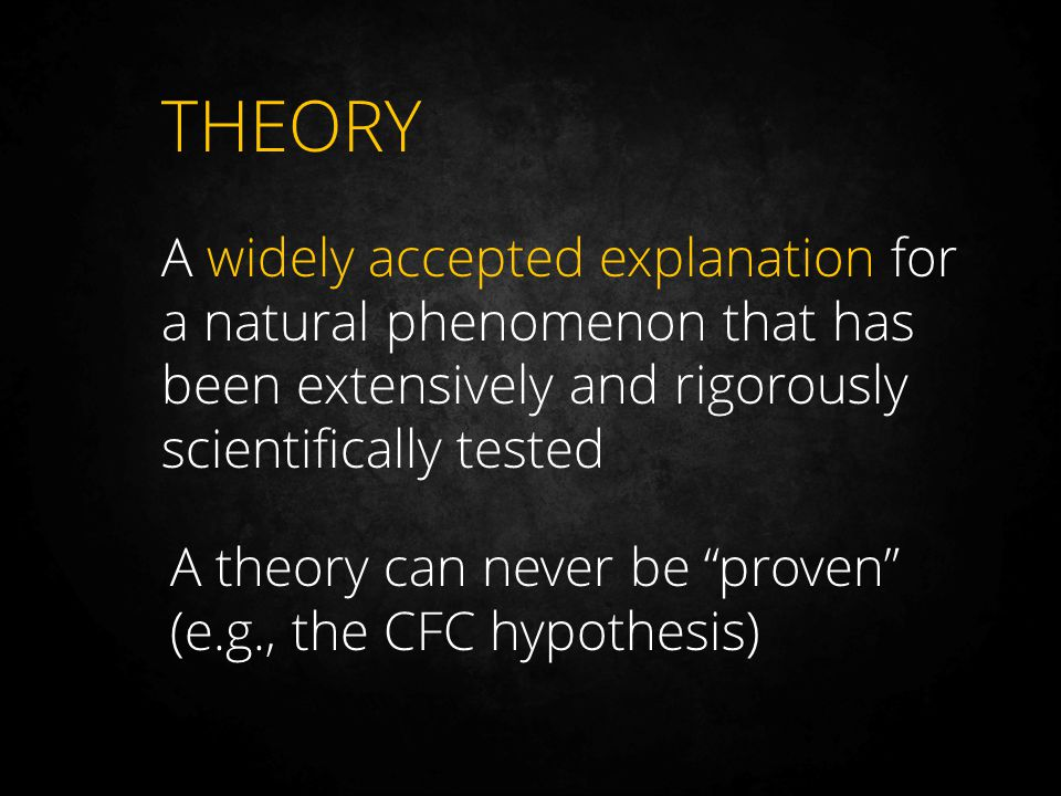 THEORY A widely accepted explanation for a natural phenomenon that has been extensively and rigorously scientifically tested.