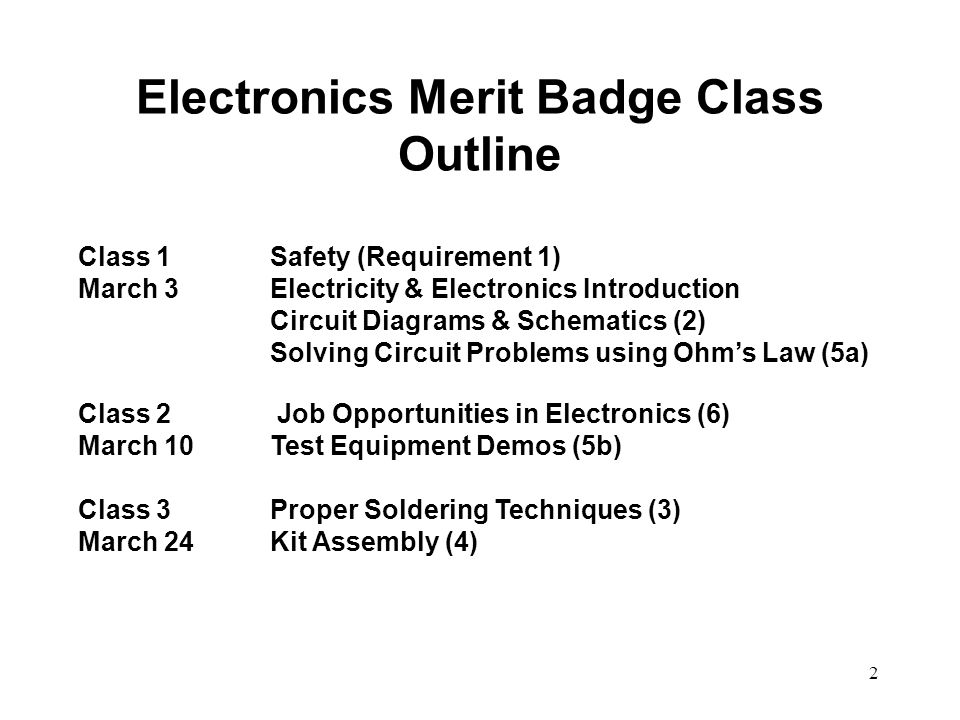 Electronics Merit Badge Class Outline