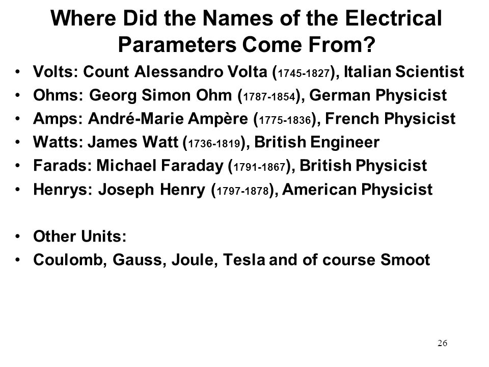 Where Did the Names of the Electrical Parameters Come From