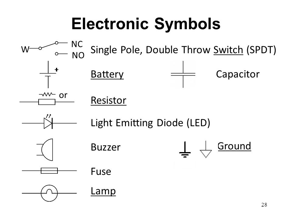 Electronic Symbols Single Pole, Double Throw Switch (SPDT) Battery