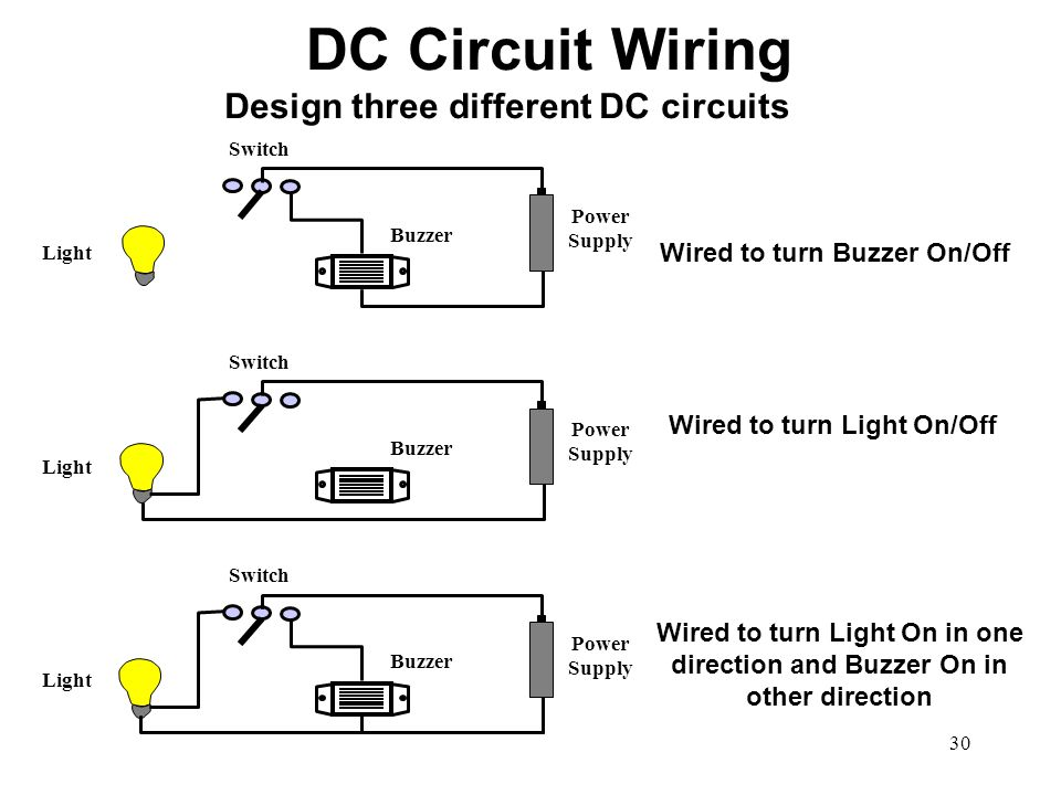 DC Circuit Wiring Design three different DC circuits