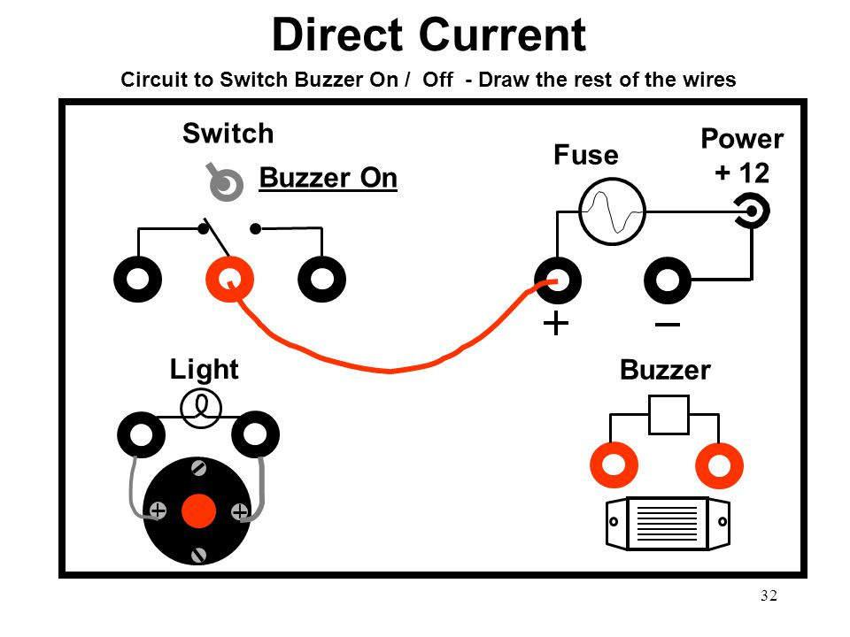 Circuit to Switch Buzzer On / Off - Draw the rest of the wires