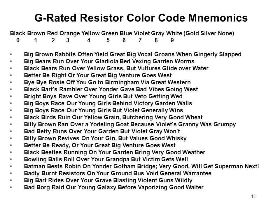 G-Rated Resistor Color Code Mnemonics