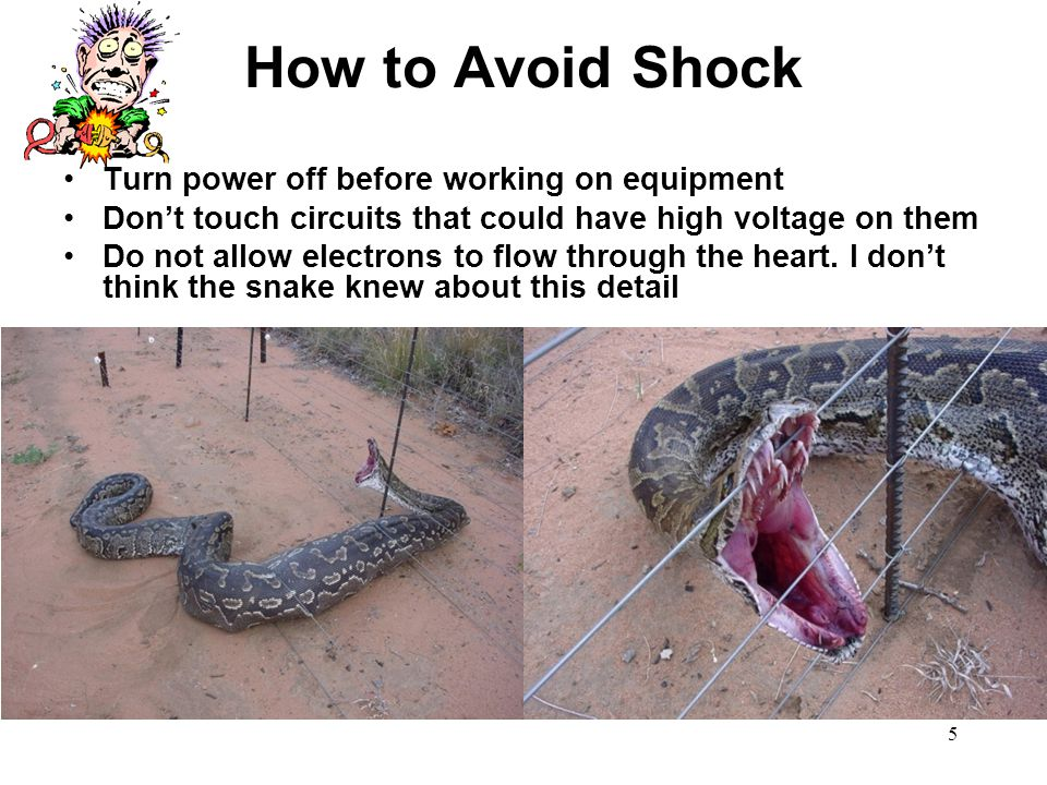 How to Avoid Shock Turn power off before working on equipment