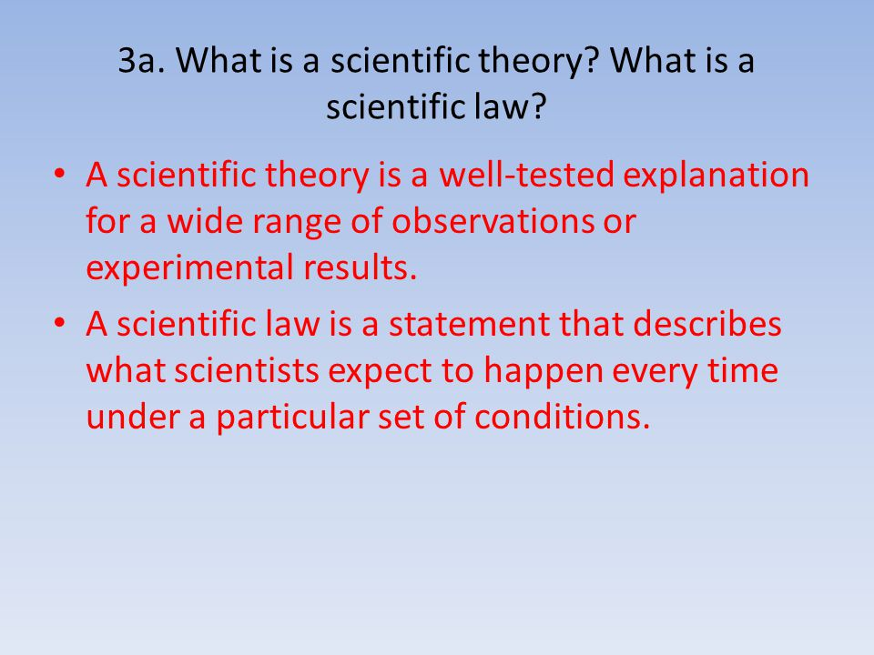 3a. What is a scientific theory What is a scientific law