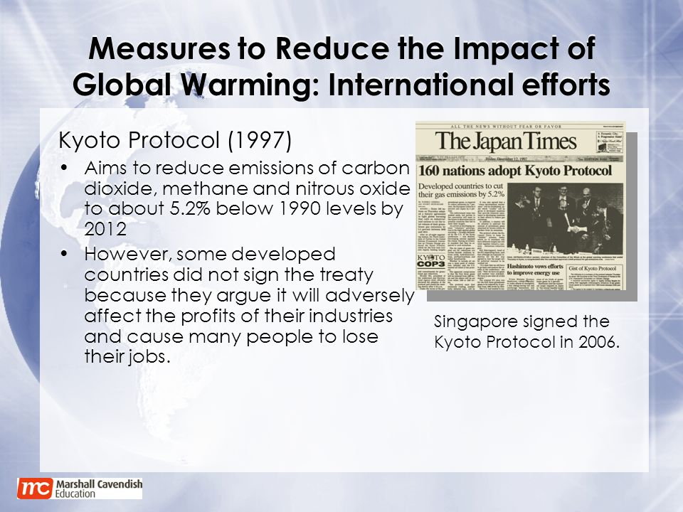 Measures to Reduce the Impact of Global Warming: International efforts