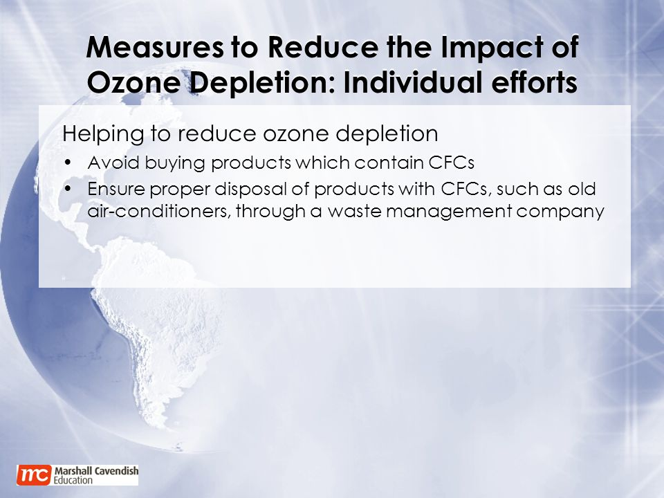Measures to Reduce the Impact of Ozone Depletion: Individual efforts