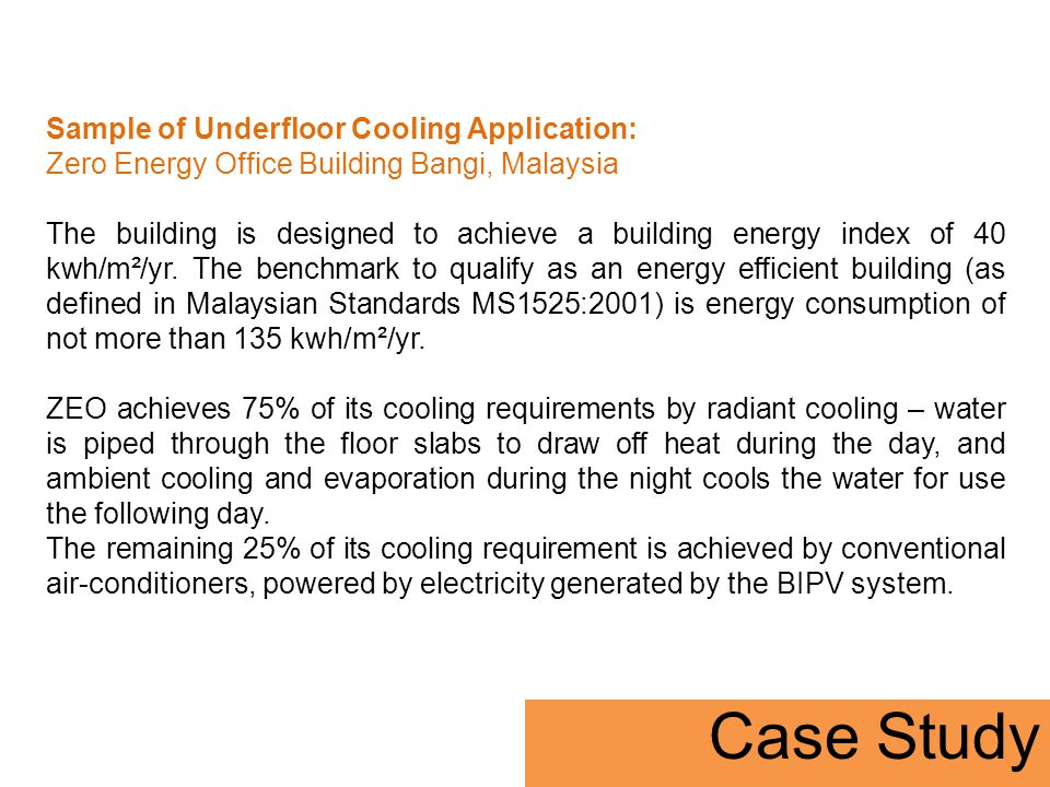 Case Study Sample of Underfloor Cooling Application:
