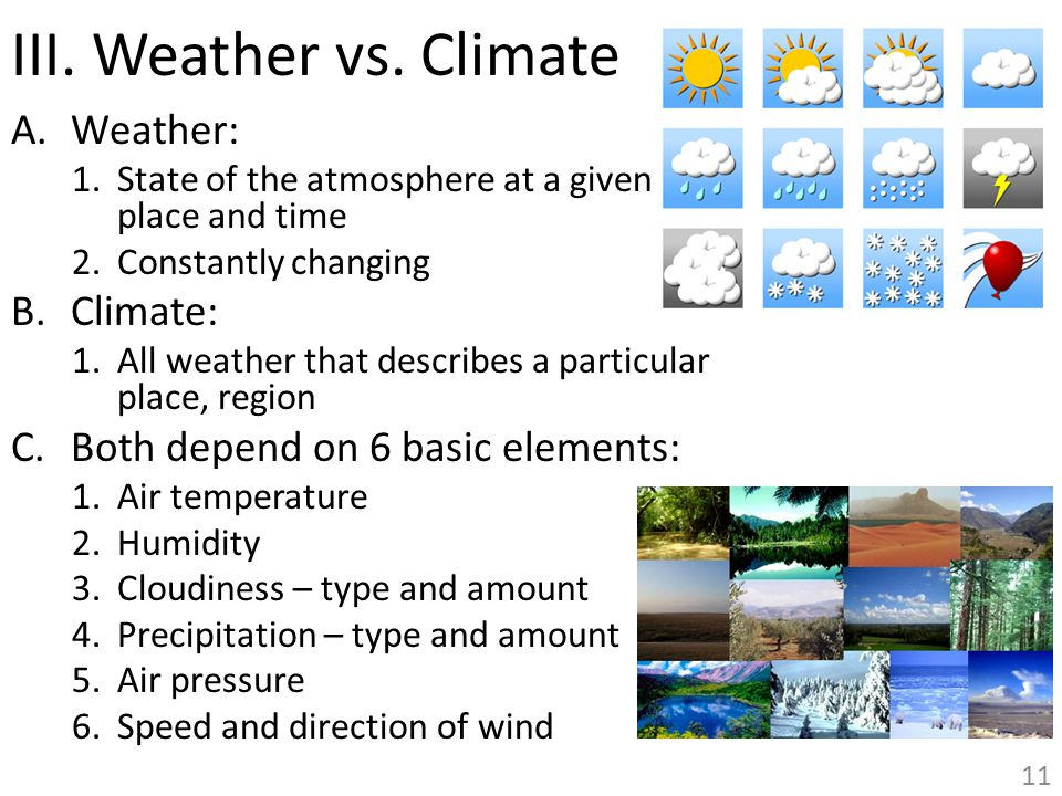 III. Weather vs. Climate Weather: Climate: