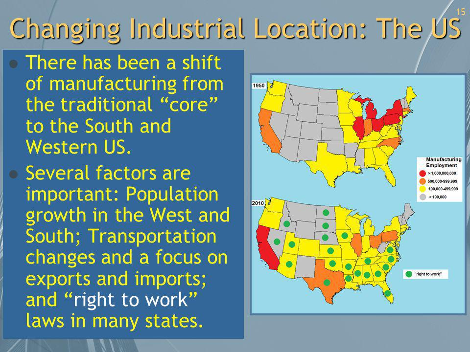 Changing Industrial Location: The US