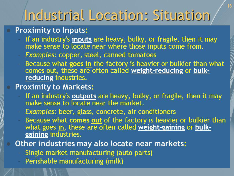 Industrial Location: Situation