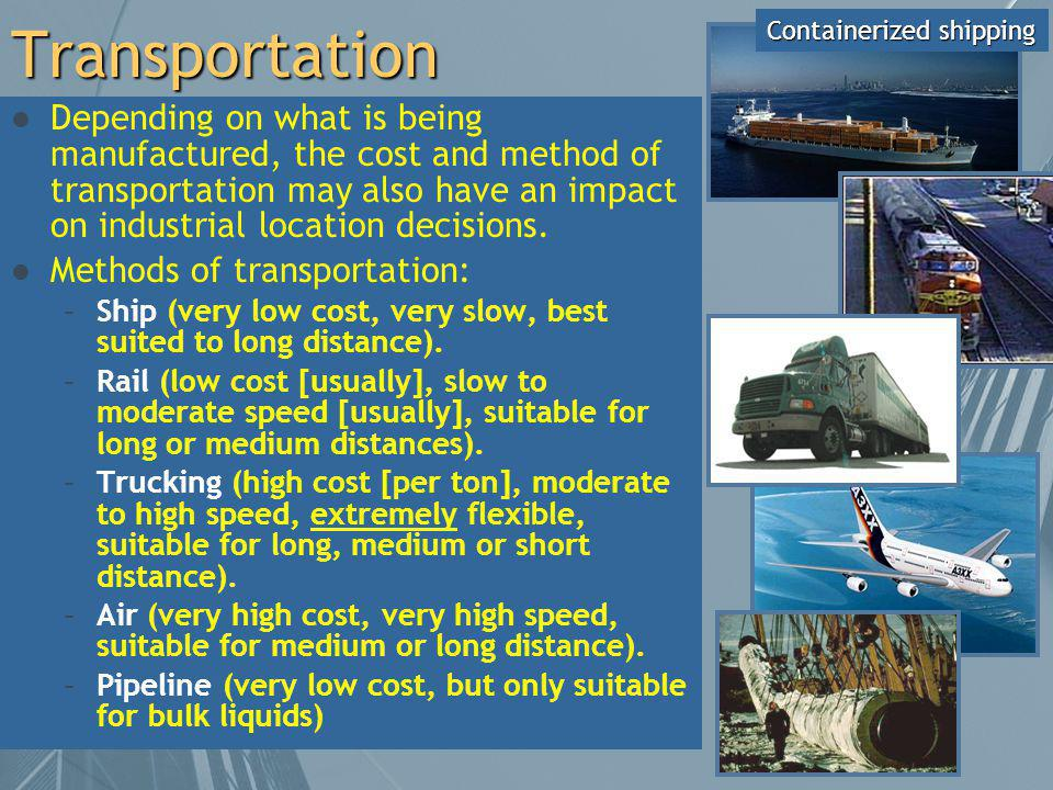 Transportation Containerized shipping.