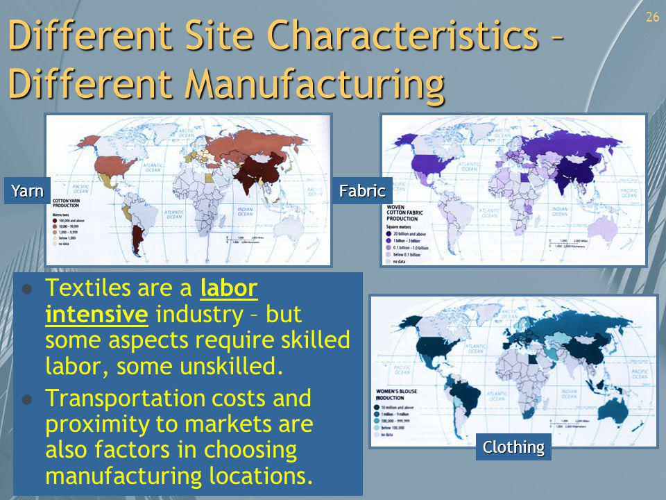 Different Site Characteristics – Different Manufacturing