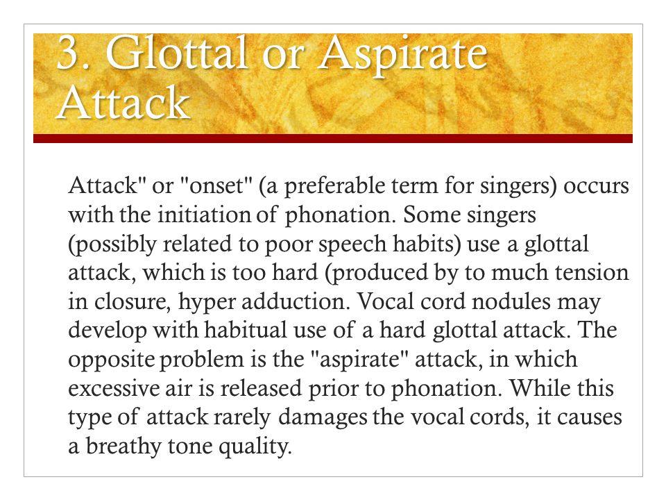 3. Glottal or Aspirate Attack