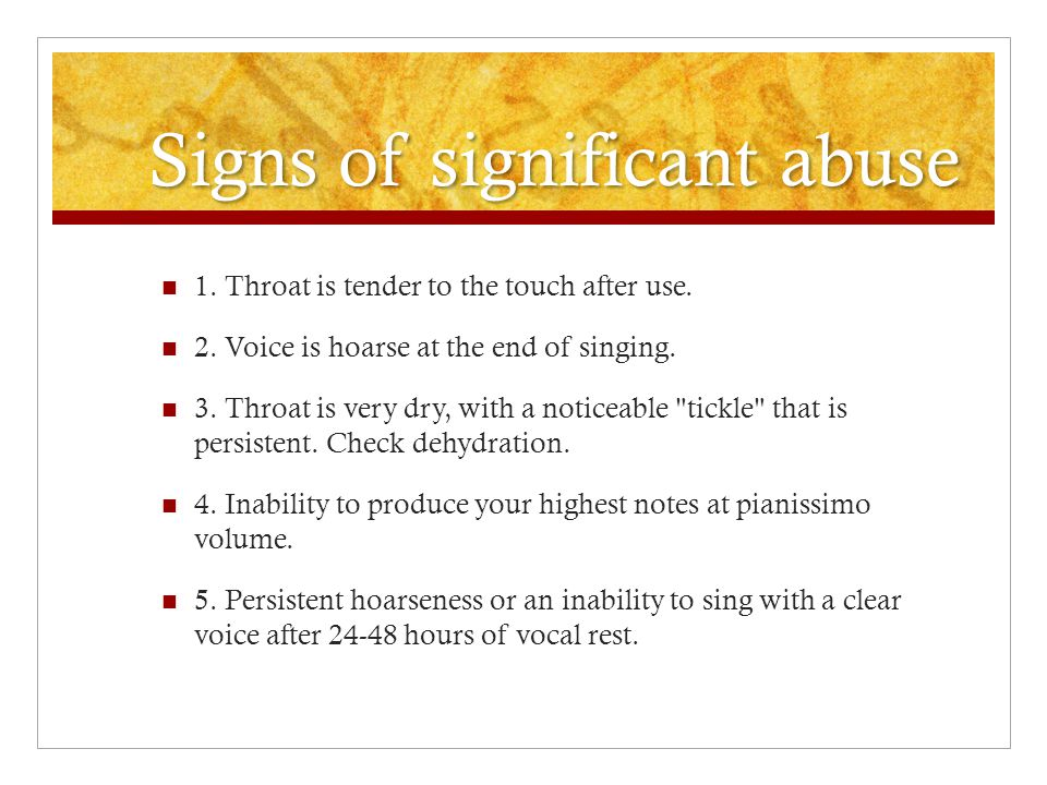 Signs of significant abuse