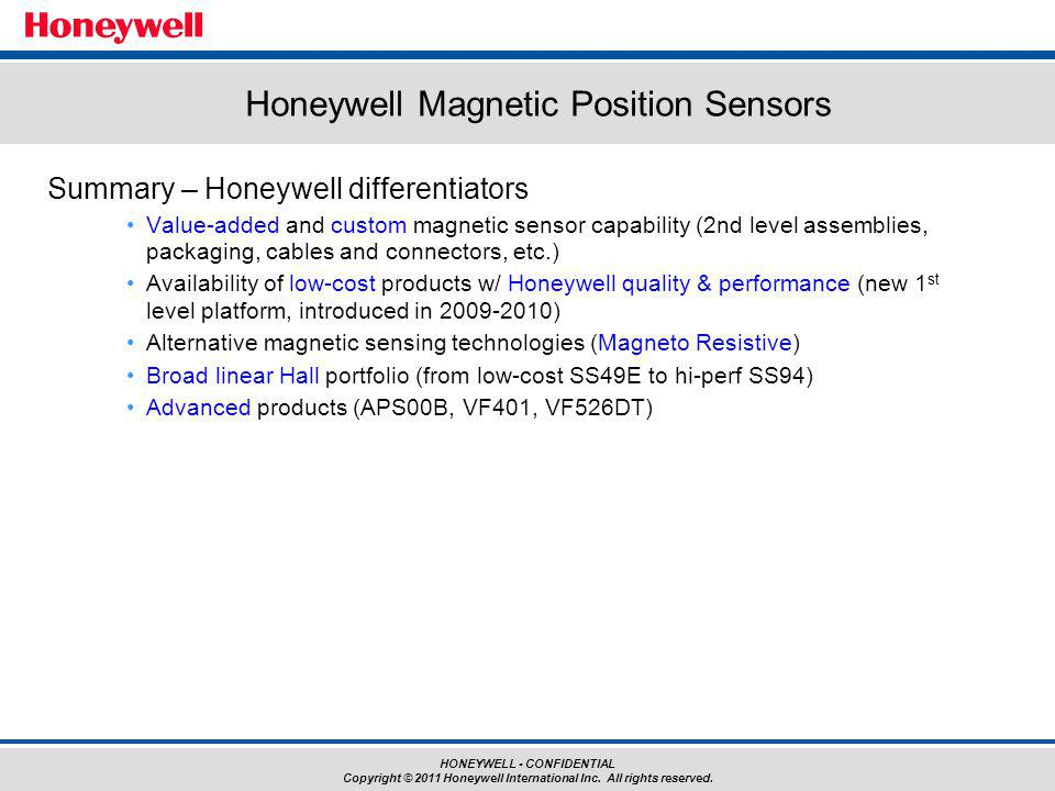 Honeywell Magnetic Position Sensors
