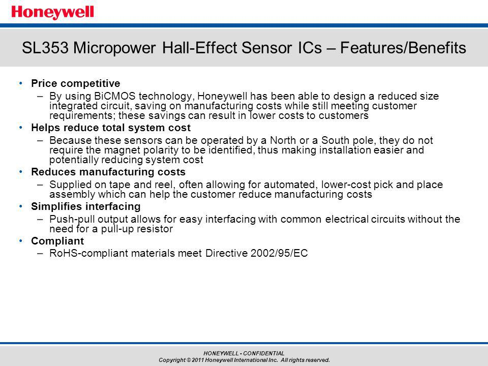 SL353 Micropower Hall-Effect Sensor ICs – Features/Benefits