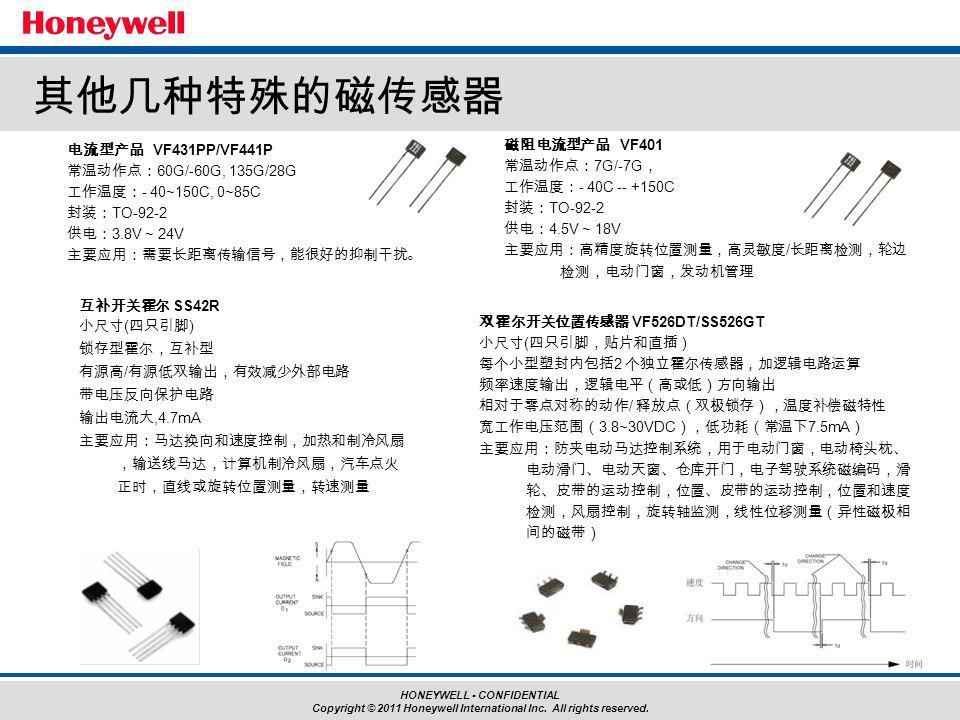 其他几种特殊的磁传感器 电流型产品 VF431PP/VF441P 常温动作点:60G/-60G, 135G/28G 工作温度:- 40~150C, 0~85C 封装:TO-92-2 供电:3.8V ~ 24V 主要应用:需要长距离传输信号,能很好的抑制干扰。