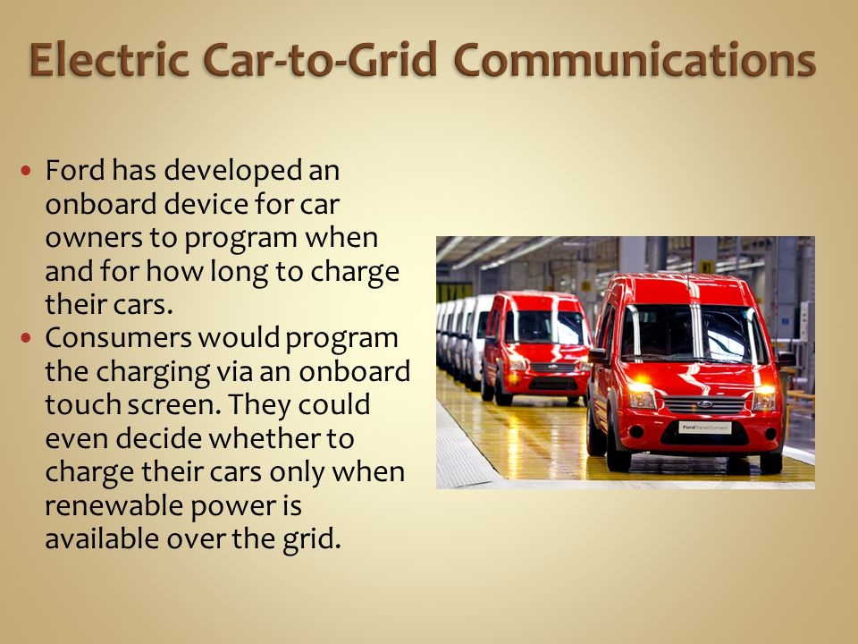 Electric Car-to-Grid Communications