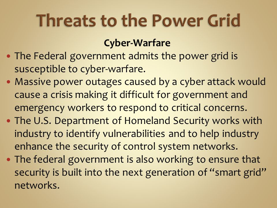 Threats to the Power Grid
