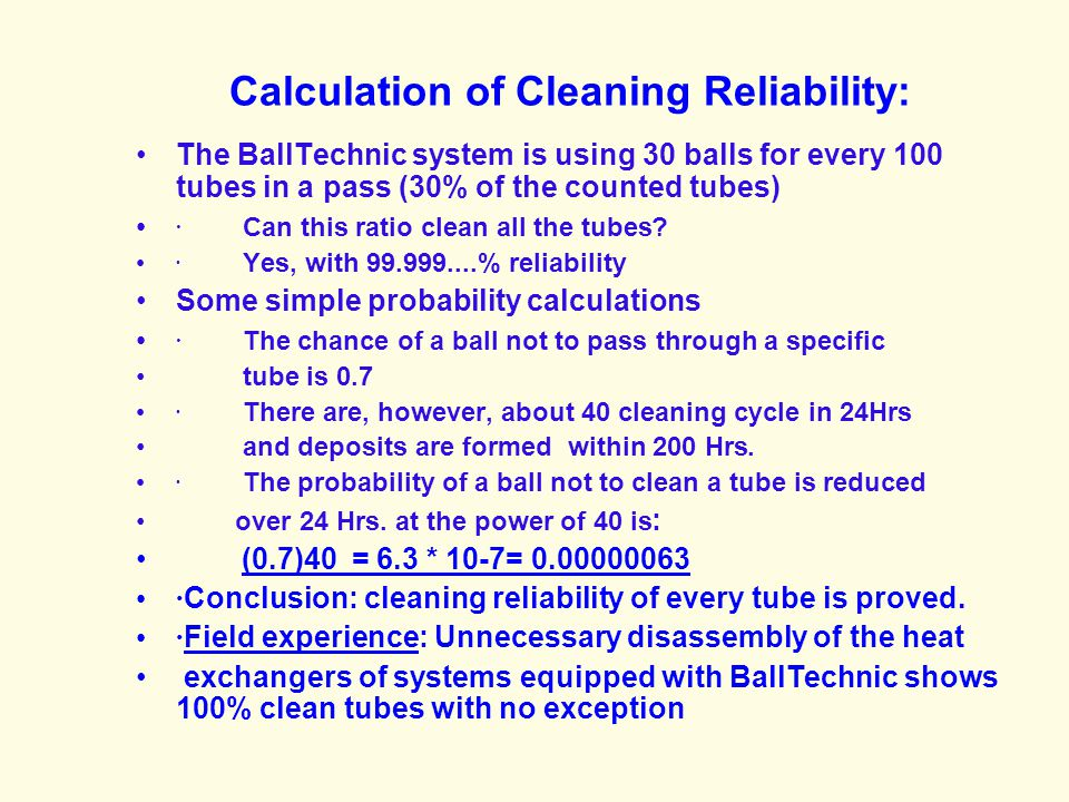 Calculation of Cleaning Reliability: