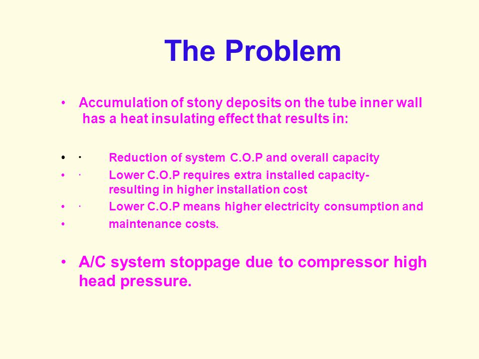 The Problem A/C system stoppage due to compressor high head pressure.