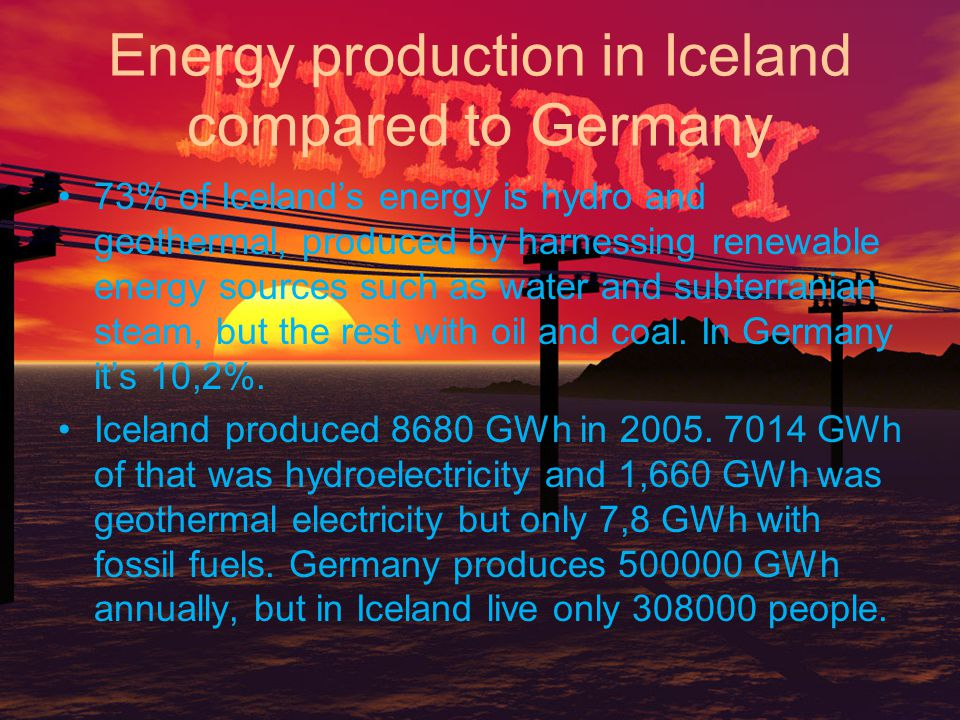Energy production in Iceland compared to Germany