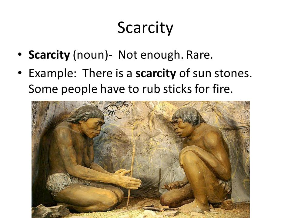 Scarcity Scarcity (noun)- Not enough. Rare.
