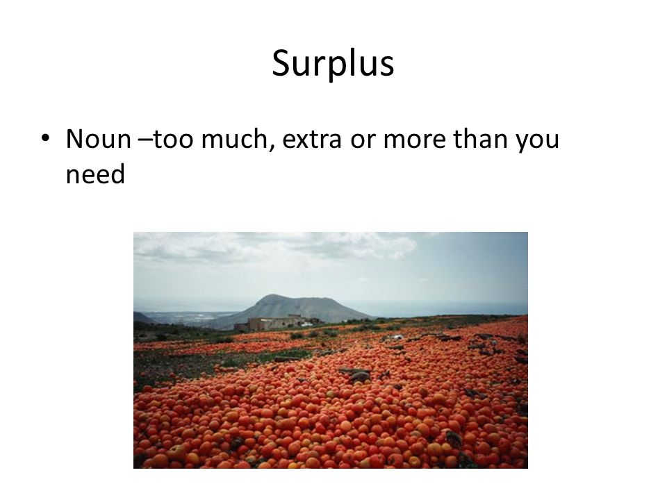 Surplus Noun –too much, extra or more than you need