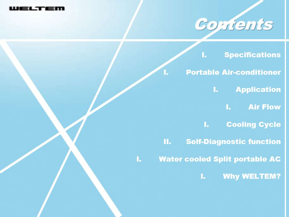 Contents Specifications Portable Air-conditioner Application Air Flow