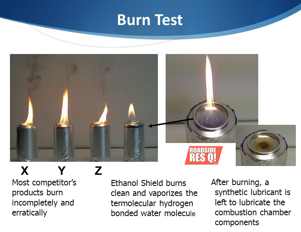 Burn Test X Y Z. Most competitor's products burn incompletely and erratically.
