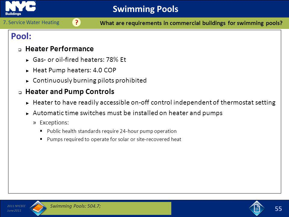 Swimming Pools Pool: Heater Performance Heater and Pump Controls