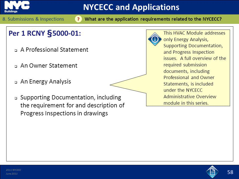 NYCECC and Applications