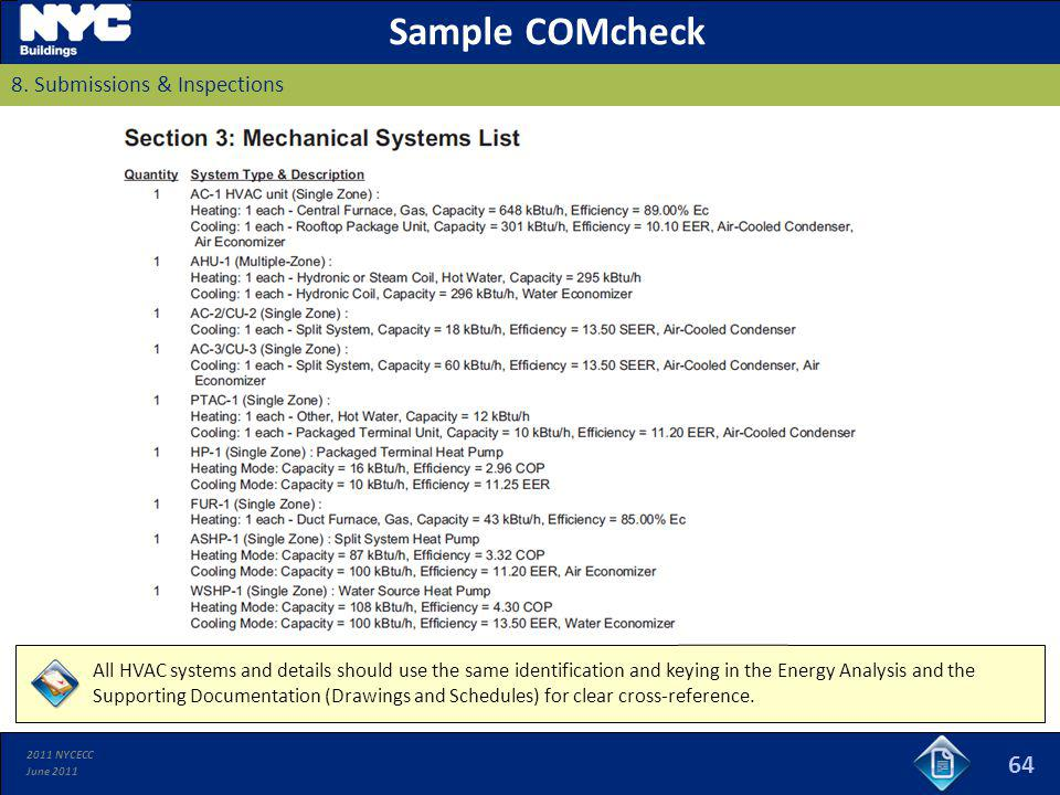 Sample COMcheck 8. Submissions & Inspections
