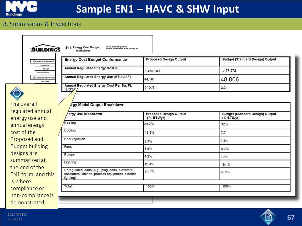Sample EN1 – HAVC & SHW Input