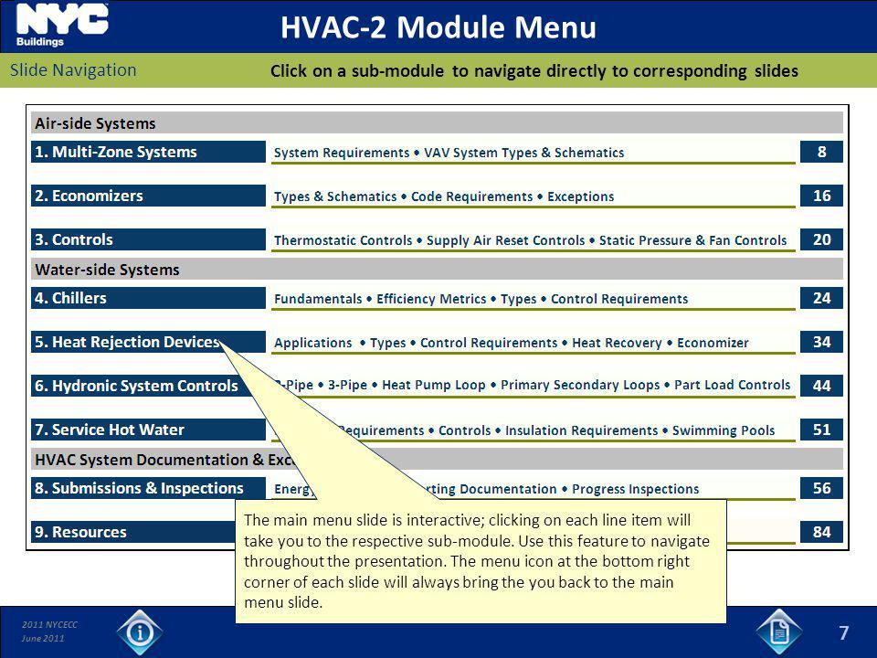 HVAC-2 Module Menu 7 Slide Navigation