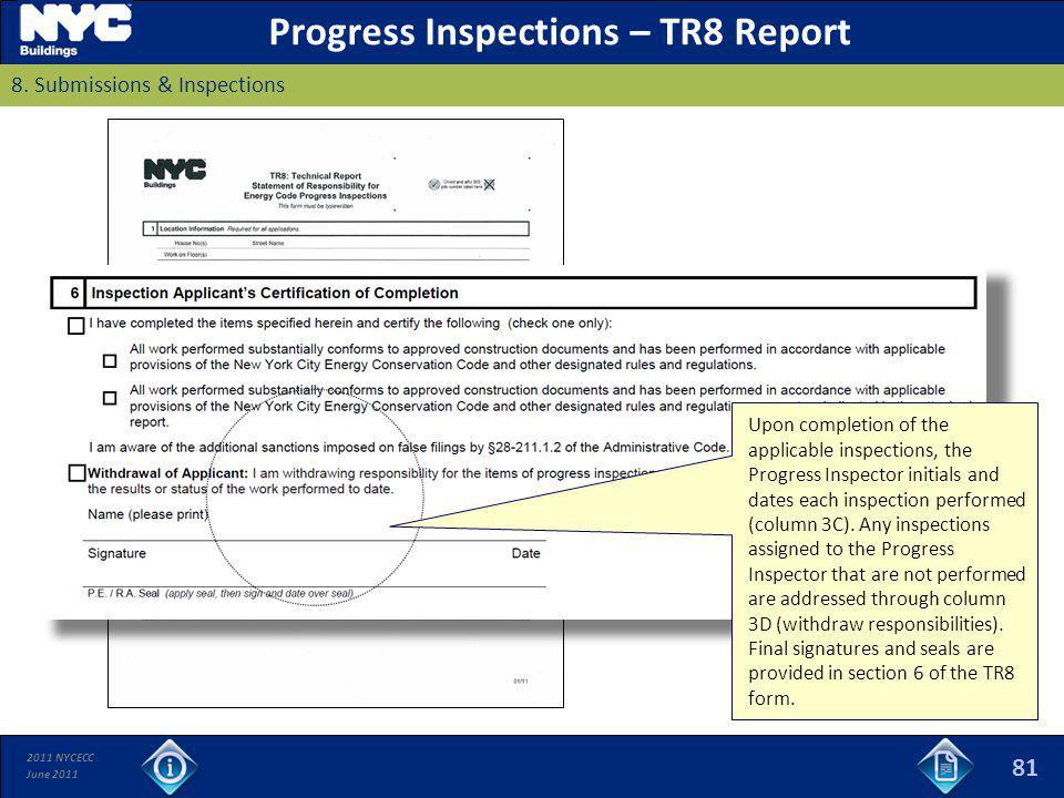 Progress Inspections – TR8 Report