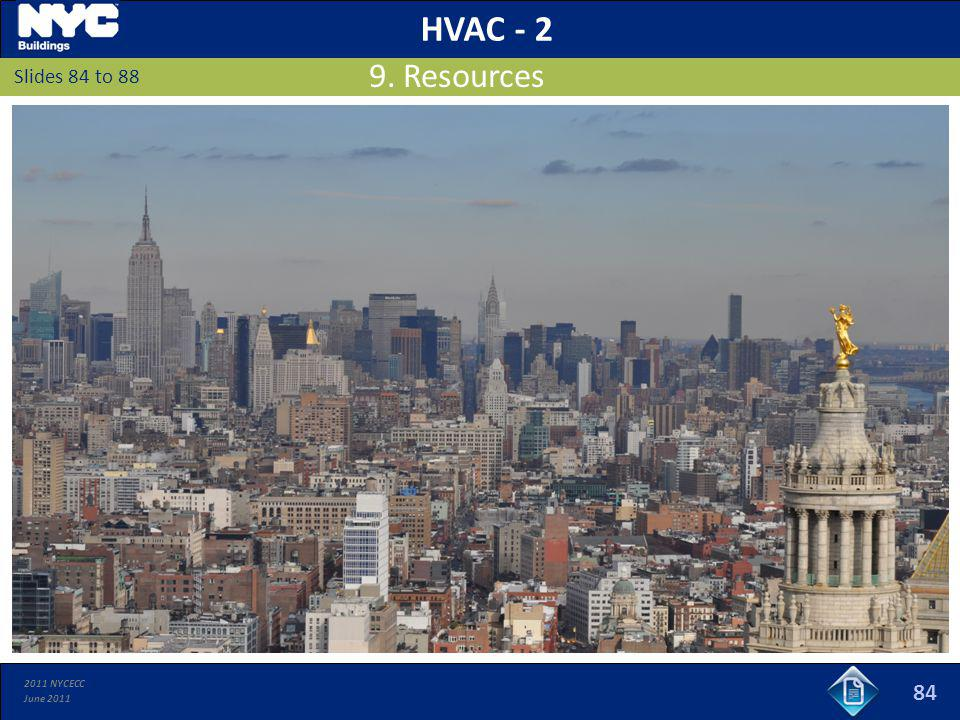 HVAC - 2 9. Resources Slides 84 to 88 84 84 84